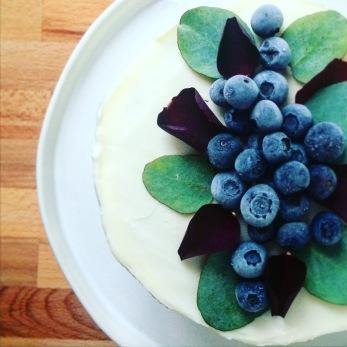 Blueberry and cinnamon swirl cake