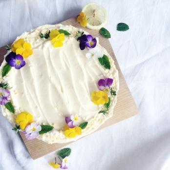 Lemon Cake with edible flowers
