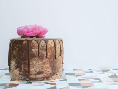 Tiramisu cake with chocolate ganache drip and fresh flower