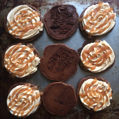 Brownie Sandwiches with peanut butter buttercream - Sky Meadow Bakery blog