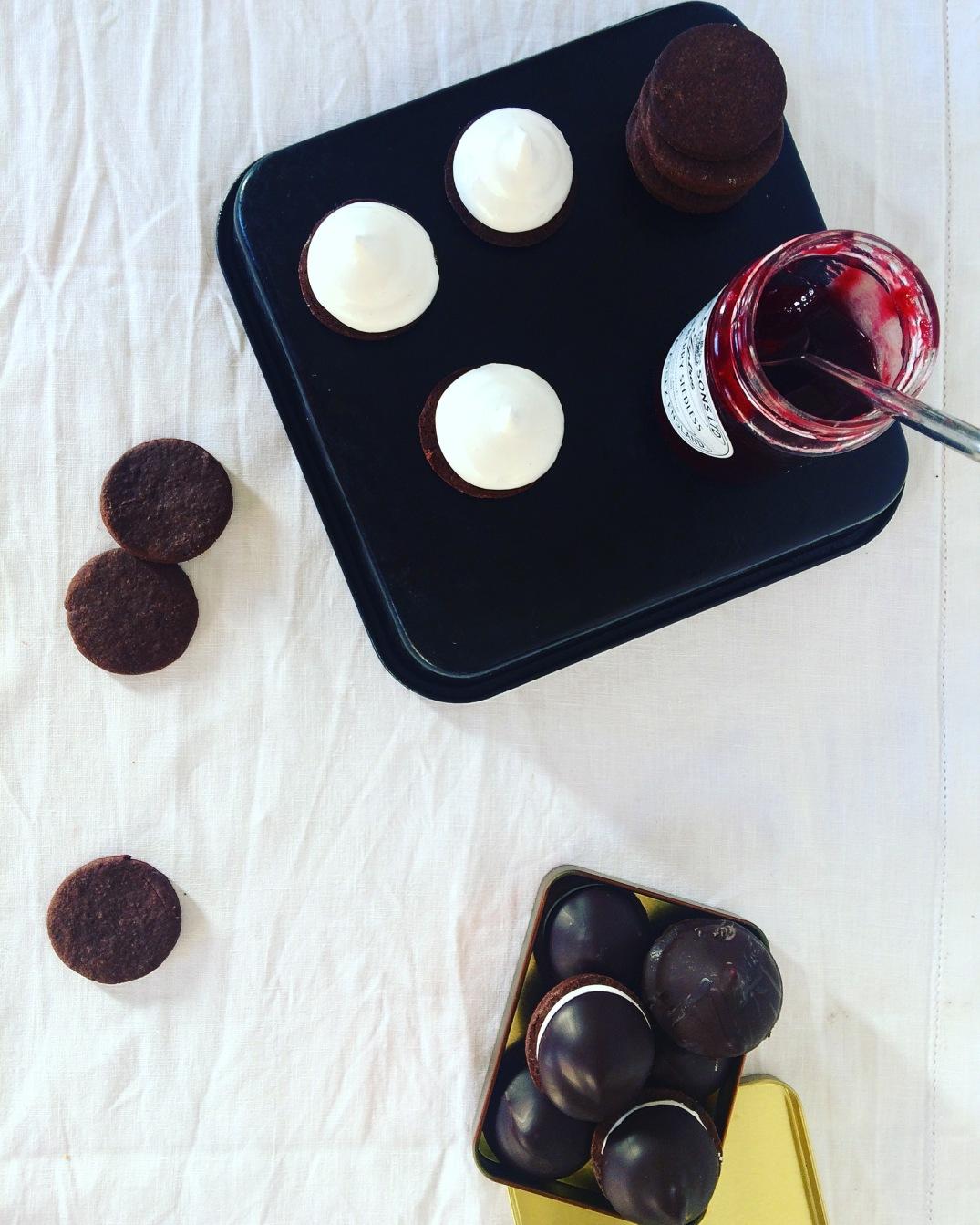 Chocolate Marshmallow Teacakes with raspberry jam - Sky Meadow Bakery blog