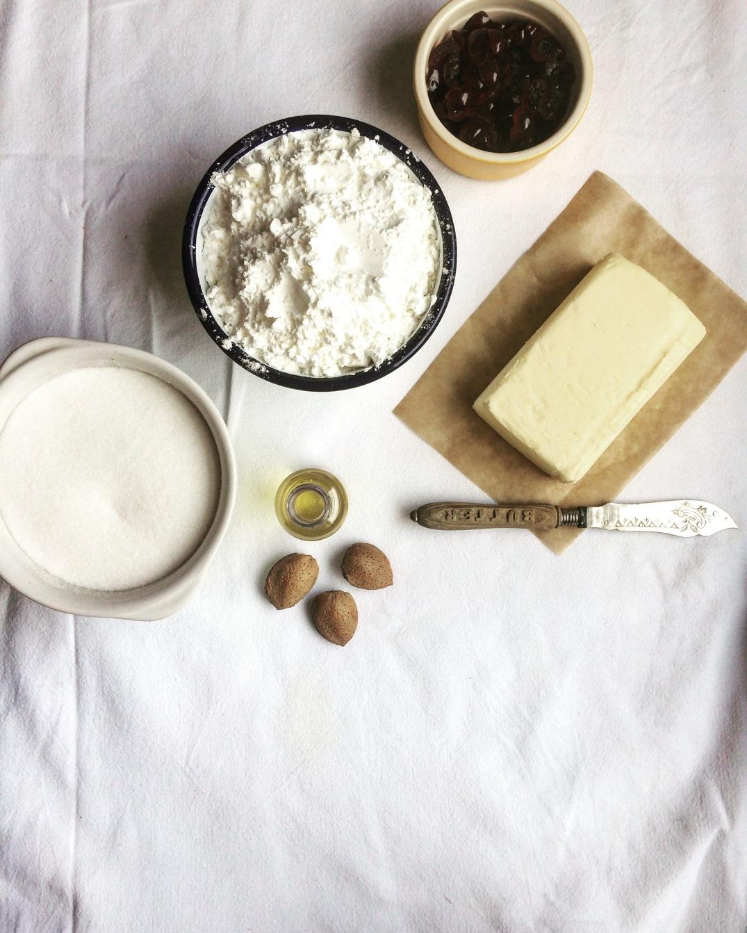 Almond and Cherry Shortbread - Sky Meadow Bakery blog